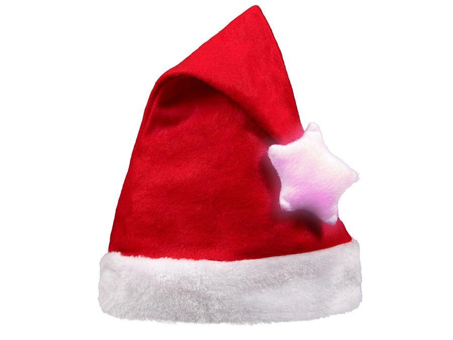 Weihnachtsmütze Nikolausmütze Bommel mit Leuchtstern