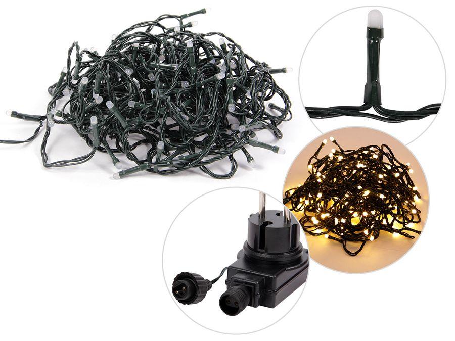 LED Lichterkette mit Stecker Weihnachtsbeleuchtung Heimdeko 120 warmweiße LEDs