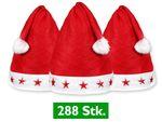 288 Stück Weihnachtsmützen Nikolausmützen Rot mit Leuchtsterne