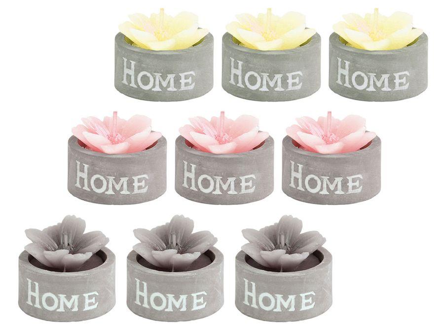 Duftkerze im Zement Topf Home 3er Set Kerze Dekokerze Blüte Blume Wachskerze Geschenkidee von ALSINO