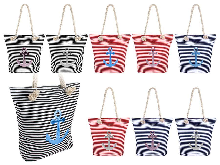 Shopper Tasche groß mit Reißverschluss maritime Schultertasche
