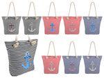 Shopper Tasche groß mit Reißverschluss maritime Schultertasche 001