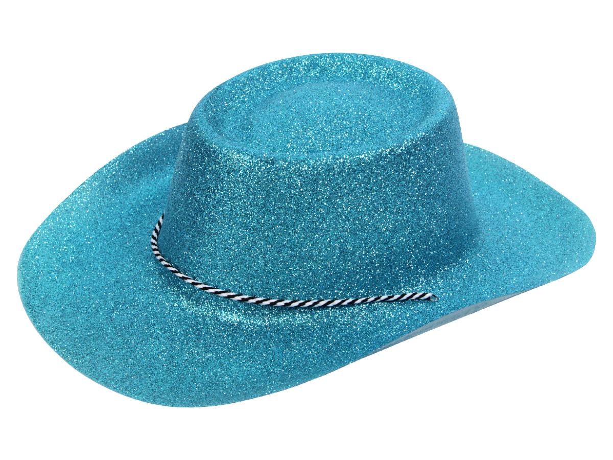 Texas Westernhut Party Hut Sheriff Fasching Maske Cowboyhut Glitzer Look Blau