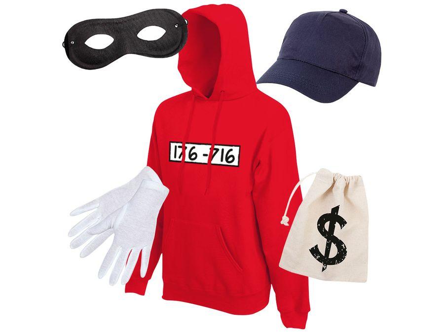 Panzerknacker Kostüm fan Outfit Hoodie Sets Maske Cap Handschuhe von Alsino