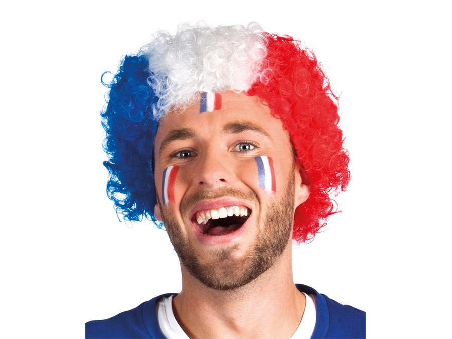 Perücke Frankreich blau weiß rot Afroperücke Lockenperücke Fußball Fanartikel