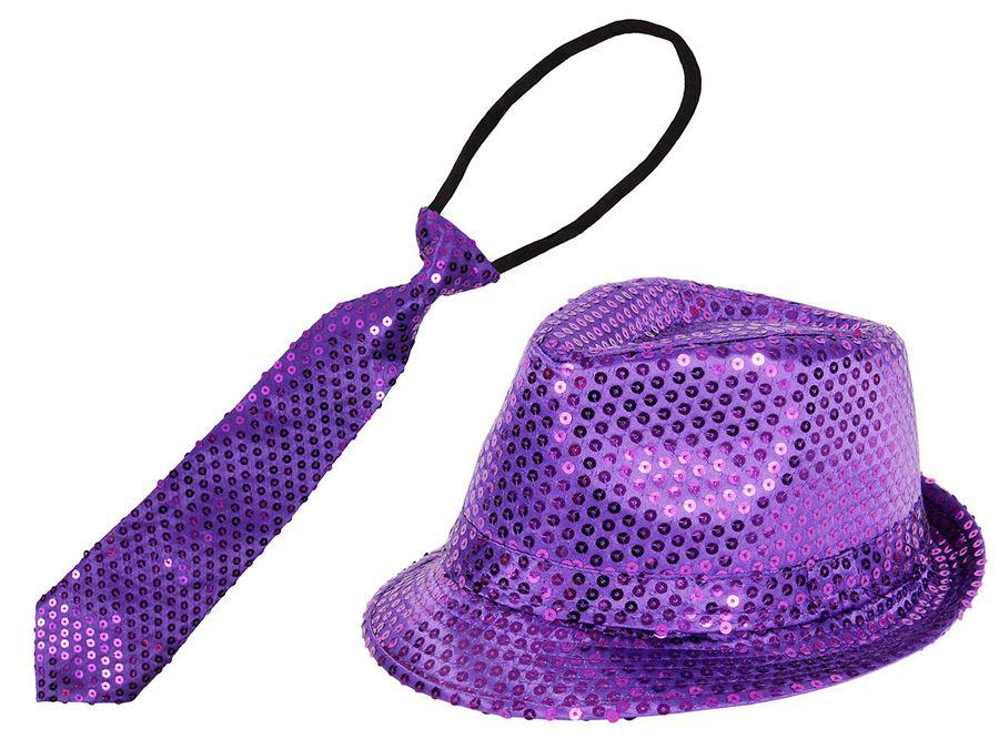 Paillettenkrawatte und Trilby Pailletten Hut lila Set ALSINO