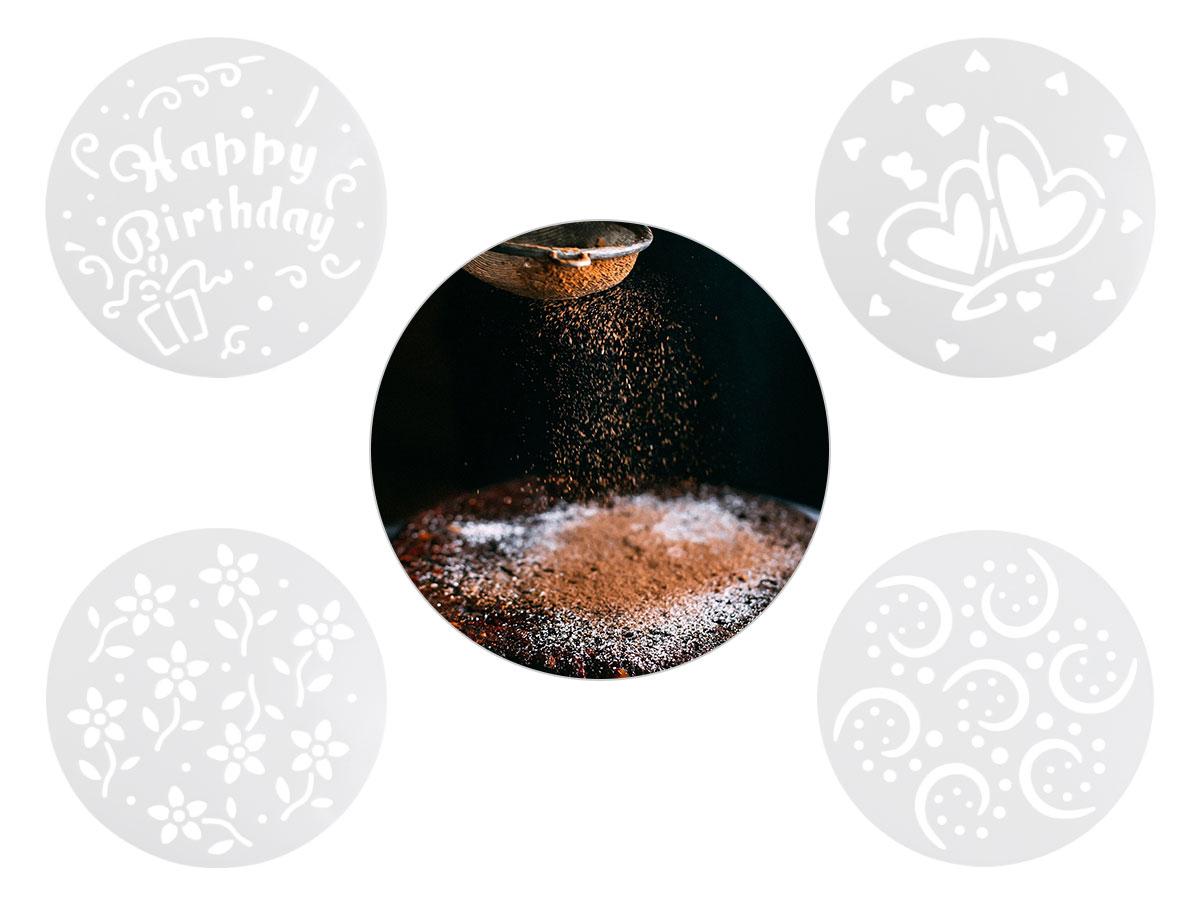 4er Set Torten Schablonen Kuchen Dekoration P832023 Geburtstag Happy Bithday Herzen 15 cm Muster Verzierung von Alsino
