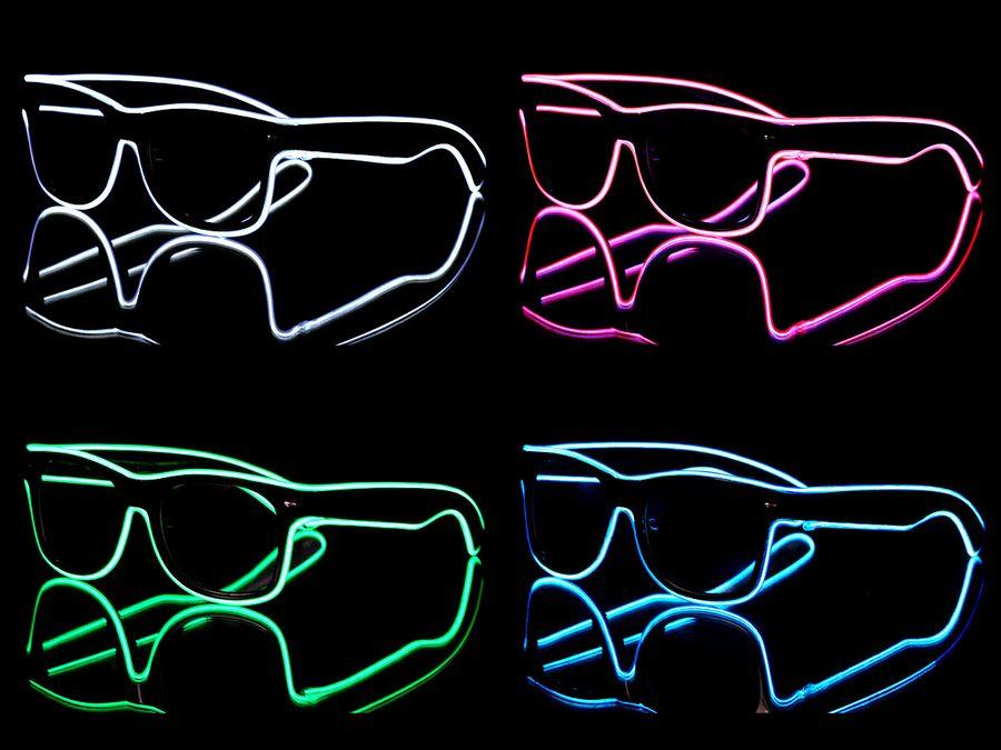 Partybrille Led Nerdbrille mit drei Blinkstufen, schwarz - Akustik Sensor Brille von Alsino