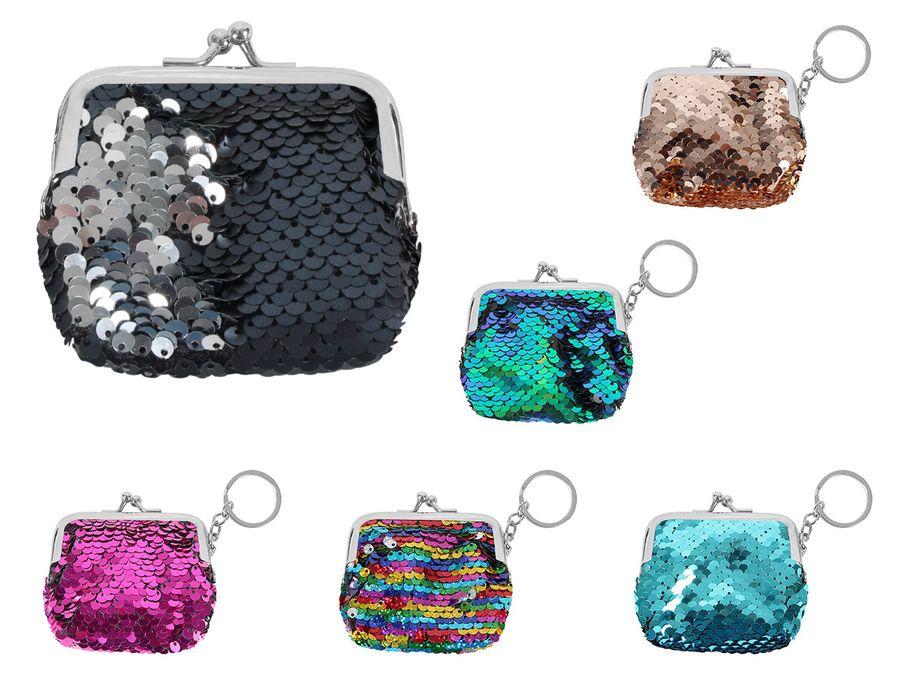 Pailletten Geldbörse 7 x 10 cm Kleingeldtasche  Portmonee Wendepailletten Anhänger Schlüsselanhänger Alsino