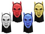 Black Skull Mask Skeleton Devil Horns Plastic with scarf for Halloween Carnival Paintball Horror Mask creepy adults teenagers Face