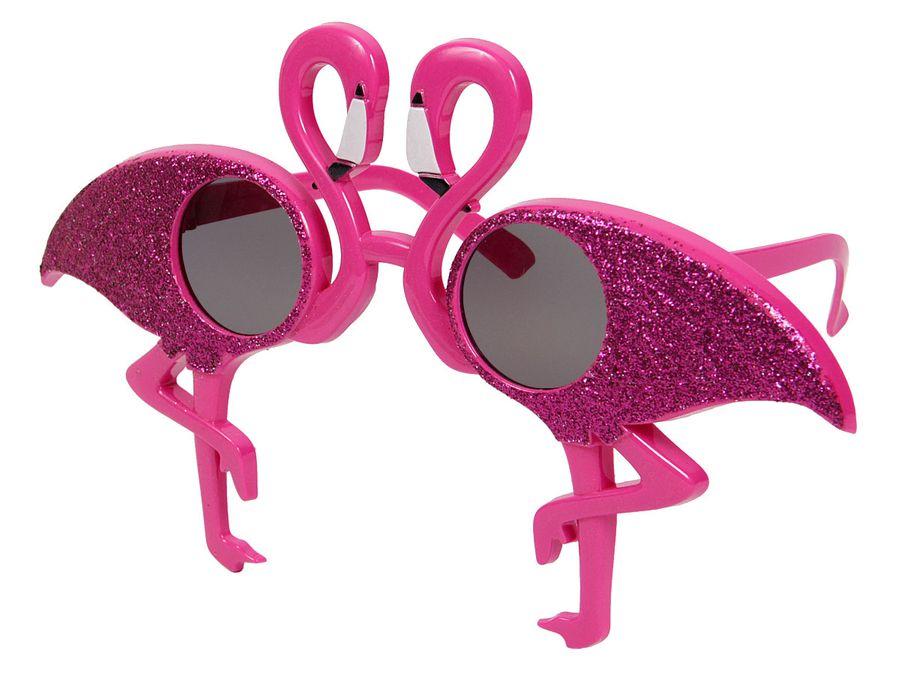 XL Partybrille 70er Jahre pink Spaßbrille Flamingo Sonnenbrille LG9657 Funbrille Erwachsene Kinder Glitzer von ALSINO