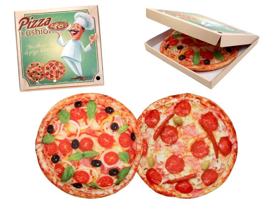Pizzakissen in Pizzakarton Sitzkissen Kissen Plüschkissen Pizzaschachtel Geschenkidee 40cm Salamipizza Pizza Tomate von ALSINO