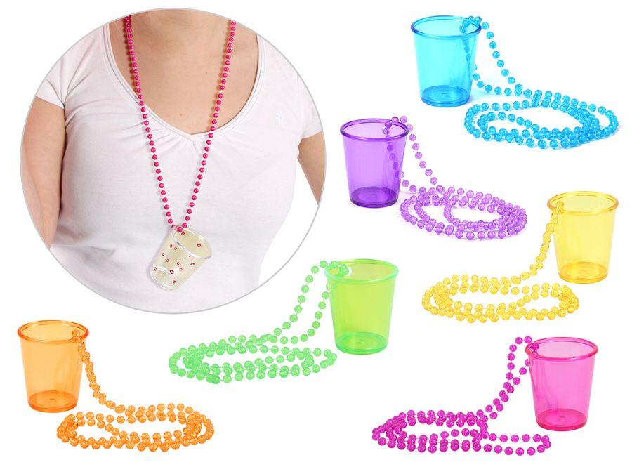 Schnapsglas mit Kette Pinnchen an Perlenkette JGA Junggesellenabschied Accessoire Outfit Schnapsbecher Shots Trinkglas Unterwegs von ALSINO