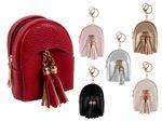 Mini Geldbörse Geldbeutel Rucksack Anhänger für Damen 7,5 x 9,5 x 5 cm Uni Farben Lederoptik mit Schlüsselring von Alsino