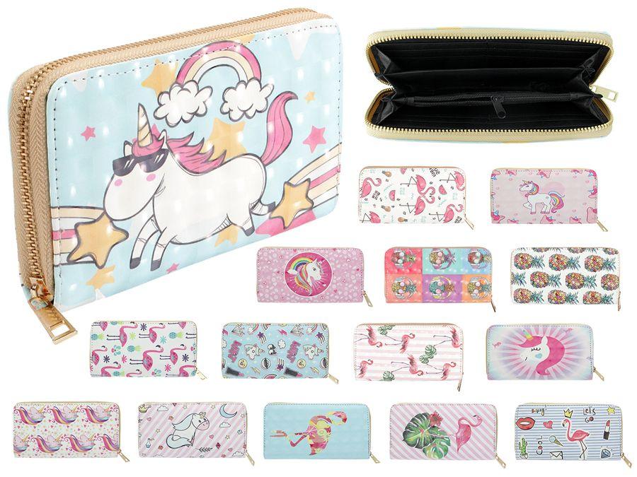Geldbörse Geldbeutel Brieftasche 20 x 10 x 2 cm All Over Print Uni Farben für Damen von Alsino