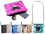 Pailletten Handtasche Clutch 23 cm x 20 cm Umhängetasche Abendtasche mit Träger Wendepailletten Damen Party Tasche Kuriertasche von Alsino