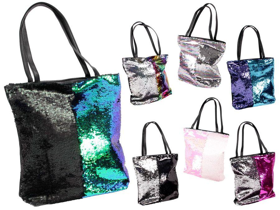 Pailletten Shopperbag mit Reißverschluss