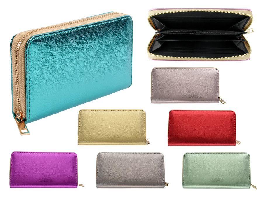 Geldbörse Brieftasche Uni Farben Damen mit Reißverschluss von Alsino
