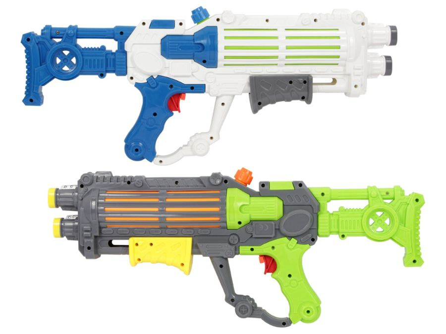 Wassergewehr Spritzpistole 49 cm 2 Farbig mit Pumpsystem von Alsino