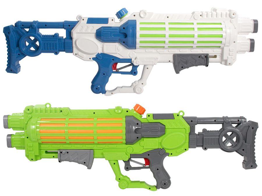 XXL Wasserpistole mit großer Reichweite Wasserspritzpistole 75 cm 2 Farbig Pumpmechanismus Sommer Strand von Alsino
