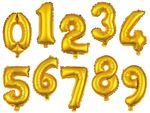 "Large Foil Balloon Numbers Gold 32"" Party Birthday Anniversary Wedding from Alsino"
