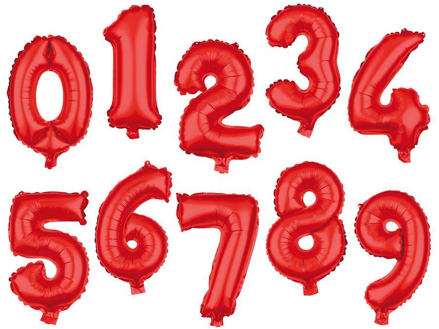 XXL Folienballons Luftballon Heliumballon Zahlenballon Ziffer 0-9 rot 80 cm Party Geburtstag Hochzeit von Alsino