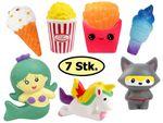 Squishys Jumbo Squishies Set of 7 - Hamburger, Cat, Ice Cream, Popcorn, Unicorn, Fries - Antistress Toy Gadget for Collection Trend from Alsino