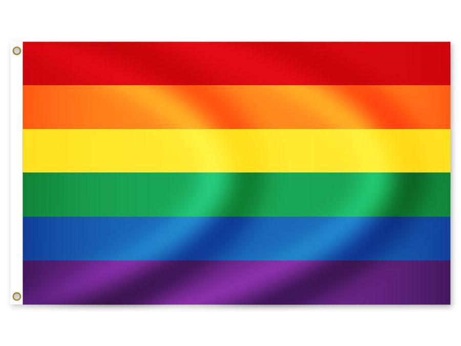 Regenbogen Flagge LGBT, 150 x 90 cm, Mehrfarbig, Wetterfest FL-32 von Alsino