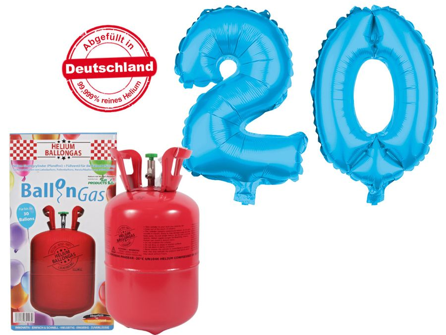 "Alsino Ballongas Helium 250 l im Set mit Folienballon ""20"" in hellblau Geburtstag Deko Heliumgas Ballons"