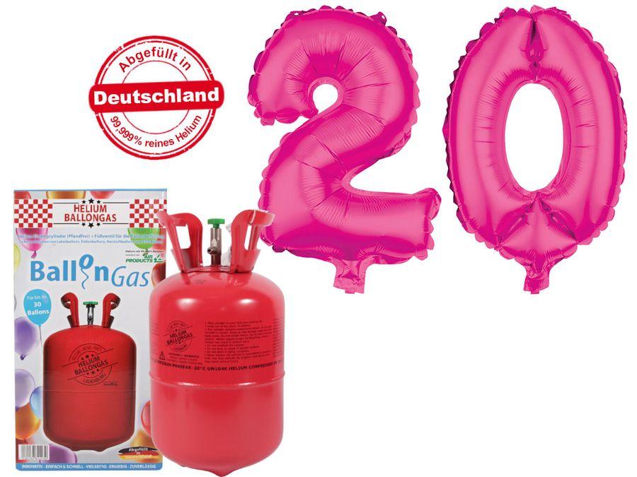 "Alsino Ballongas Helium 250 l im Set mit Folienballon ""20"" in pink Geburtstag Deko Heliumgas Ballons"