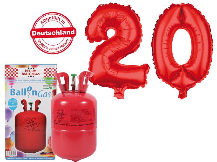"Alsino Ballongas Helium 250 l im Set mit Folienballon ""20"" in rot Geburtstag Deko Heliumgas Ballons"