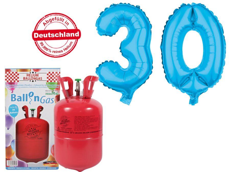 "Alsino Ballongas Helium 250 l im Set mit Folienballon ""30"" in hellblau Geburtstag Deko Heliumgas Ballons"