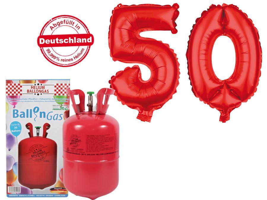 "Alsino Ballongas Helium 250 l im Set mit Folienballon ""50"" in rot Geburtstag Deko Heliumgas Ballons"
