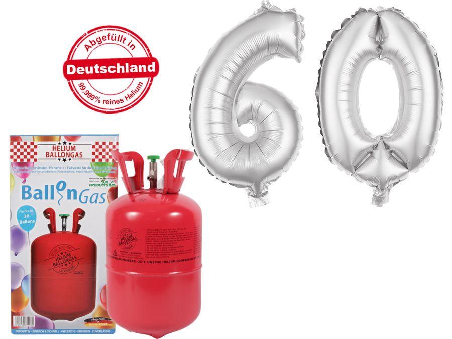 "Alsino Ballongas Helium 250 l im Set mit Folienballon ""60"" in silber Geburtstag Deko Heliumgas Ballons"