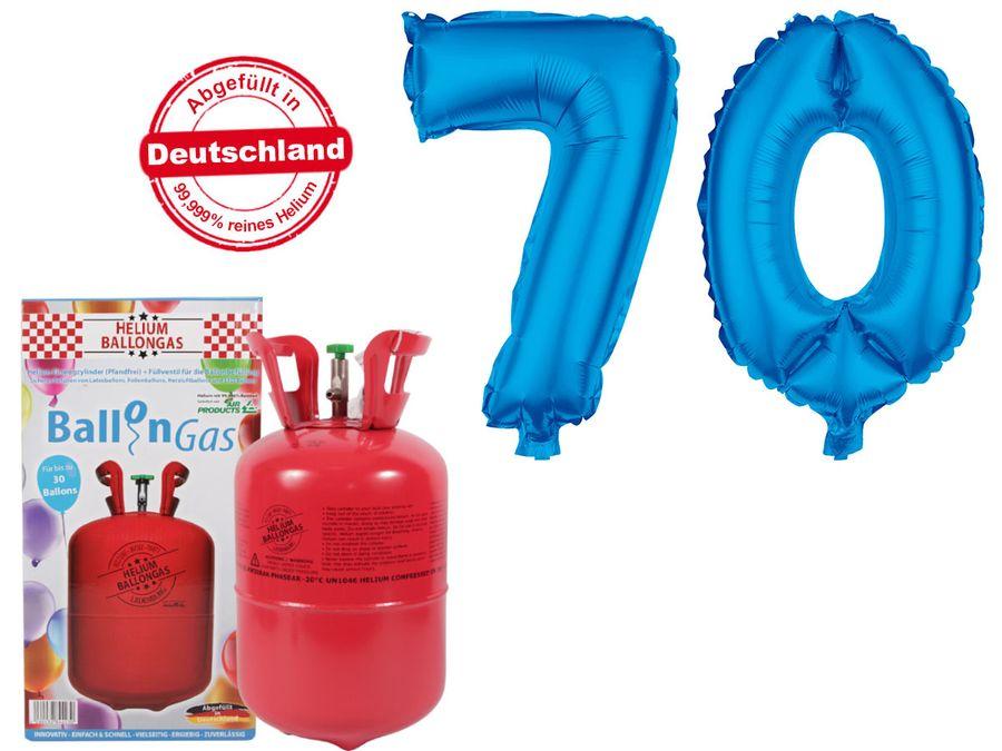 "Alsino Ballongas Helium 250 l im Set mit Folienballon ""70"" in blau Geburtstag Deko Heliumgas Ballons"