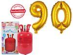 PROMOTION anniversaire 90 ans : Bouteille d'hélium 0.25 m³ + 2 Ballons XXL Numéro 90 doré en Aluminium Gonflable décoration fête papi mami  grande mère grand père magique et féerique déco