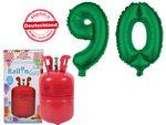 PROMOTION anniversaire 90 ans : Bouteille d'hélium 0.25 m³ + 2 Ballons XXL Numéro 90 vert en Aluminium Gonflable décoration fête papi mami  grande mère grand père magique et féerique déco