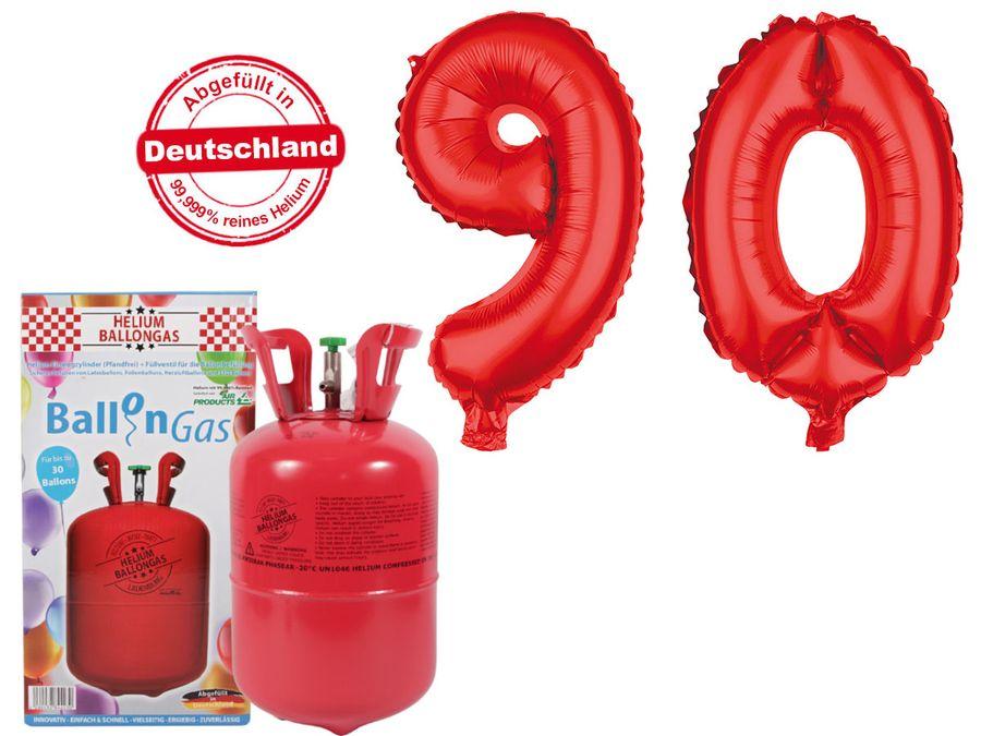 "Alsino Ballongas Helium 250 l im Set mit Folienballon ""90"" in rot Geburtstag Deko Heliumgas Ballons"