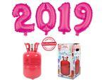 PROMOTION Nouvel An : Bouteille d'hélium 0.25 m³ + 4 Ballons XXL chiffres 2019 rose pink en Aluminium Gonflable décoration fête fin d'année magique et féerique déco reveillon intérieure extérieure