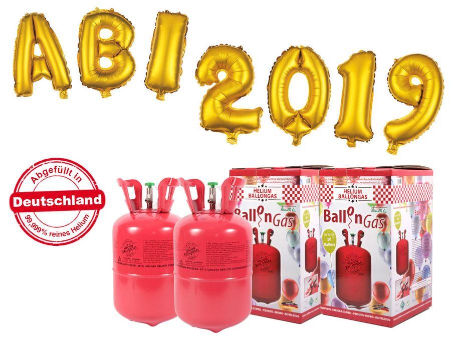 "Alsino Ballongas Helium 840 l im Set mit Folienballon ""ABI 2019"" in gold Abitur Party Deko Heliumgas Ballons"