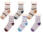 Cosy Indoor Winter Socks for Women One Size 4 – 6 Anti-slip Warm Lining Super Soft Norwegian Style Striped Girls from Alsino