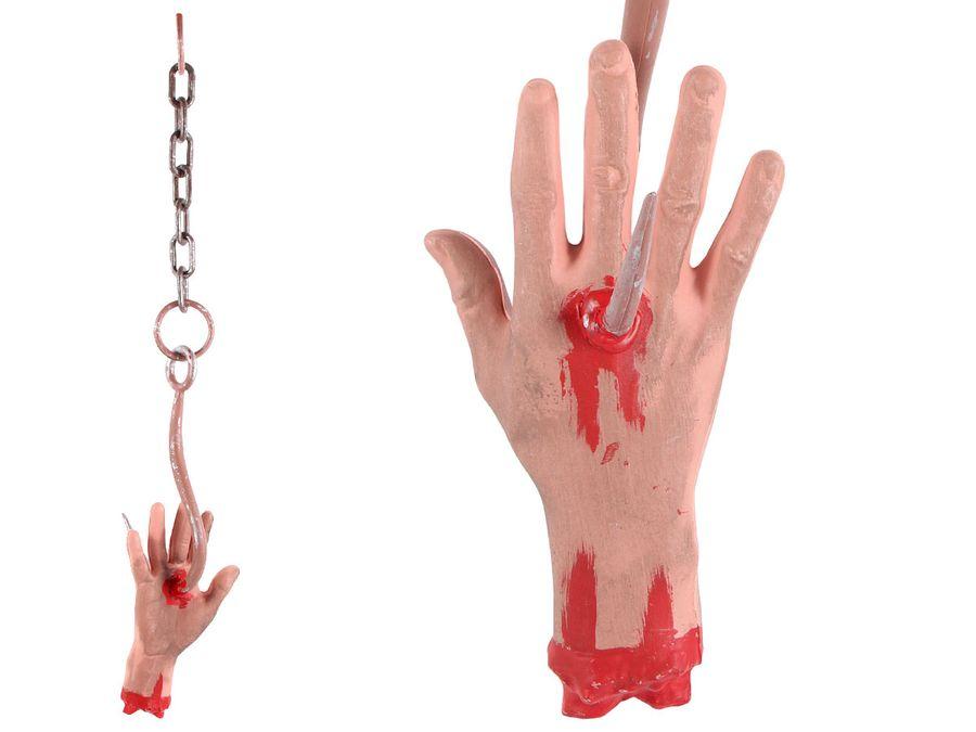 Horror-Hand am Haken mit Kette ca 60 cm Halloween Dekoration Hängedeko Wanddeko 98/2096 von Alsino