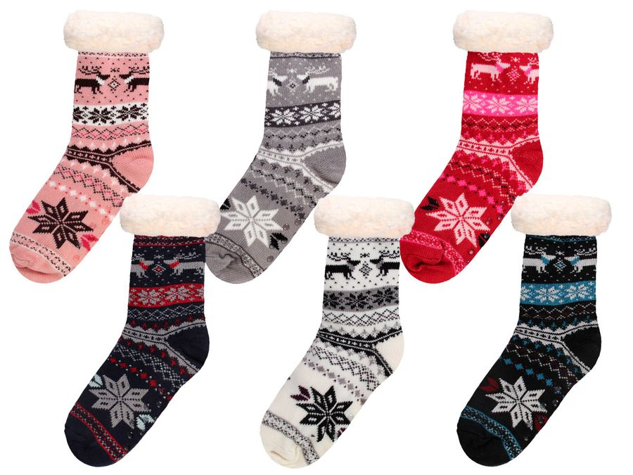 Hüttensocken Norweger Socken Weihnachtsstern 37-42 mit ABS Sohle