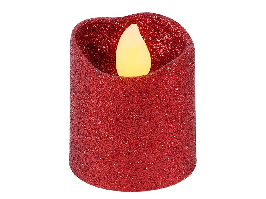LED Teelicht flammenlose Teelichter Kerze rot Glitzer 120 Stunden Brenndauer inklusive Batterien TL-11 von Alsino