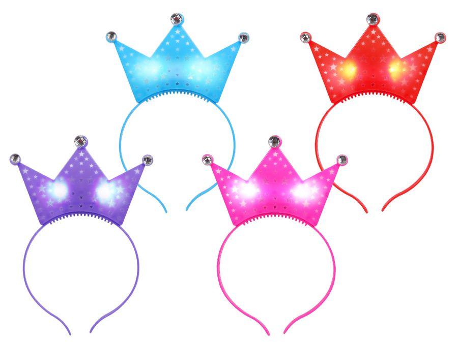 Kronen Sternen LED Leuchthaarreif in Einheitsgröße für Kinder und Erwachsene ca. 16 x 20 cm mit 3 Leuchteffekten von Alsino