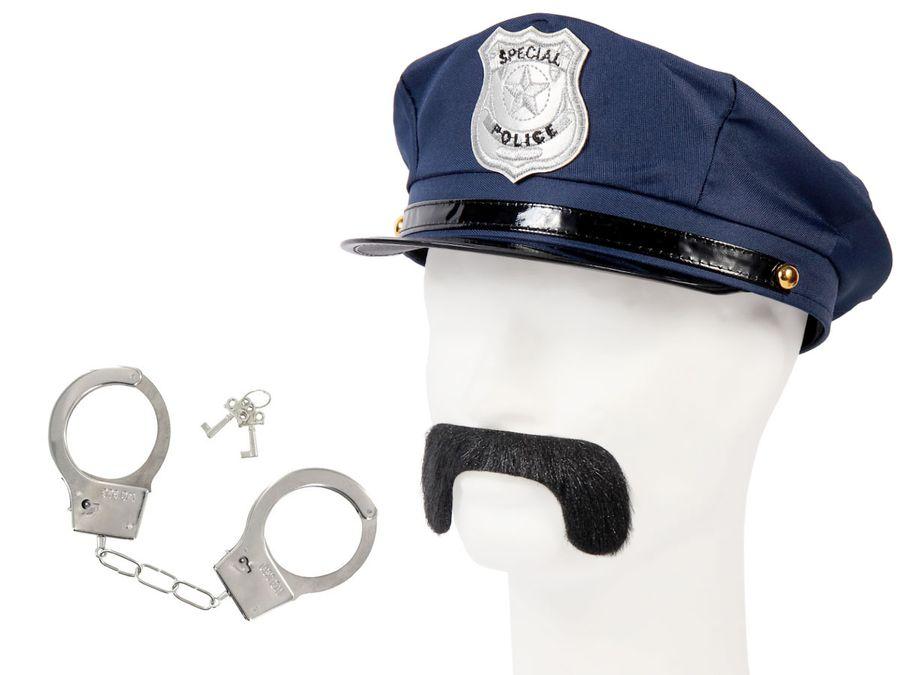 Cop Polizei Outfit Fasching Verkleidung (Kv-130) Polizeimütze | Schnurrbart und Handschellen von Alsino