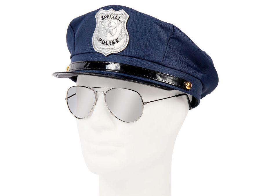 Cop Polizei Fasching Verkleidung (Kv-132) blaue Polizeimütze und Pilotenbrille von Alsino