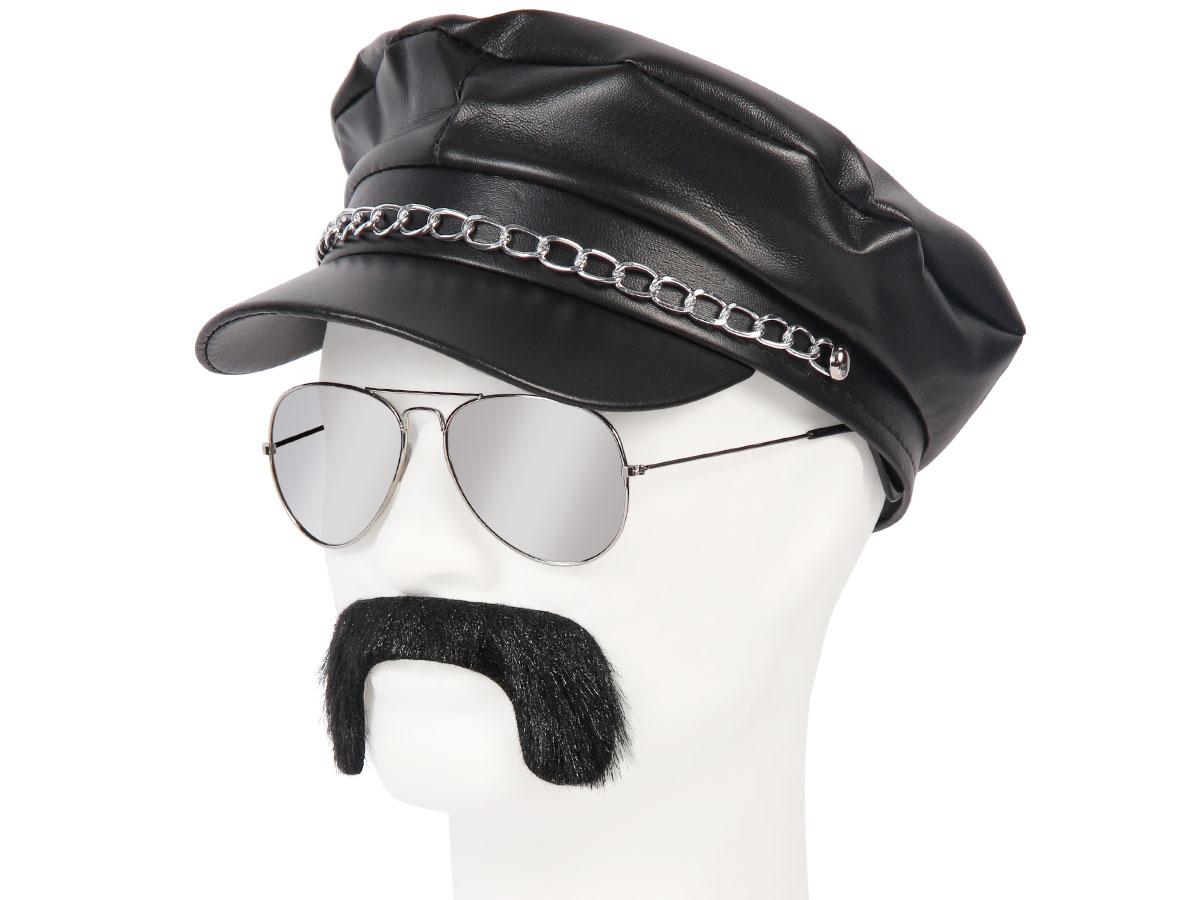 Set de Déguisement rocker | Casquette simili cuir + lunettes + Fausse moustache | KV-146 | Casquette de rocker en simili cuir Avec sa chaine metal au dessus de la visière Lunettes de soleil