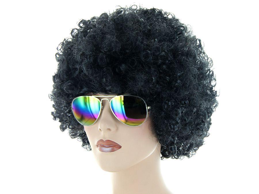 Karneval Set 70er Jahre Funky Outfit (Kv-195) mit Afro Perücke One Size Schwarz und Sonnenbrille Bunt von Alsino