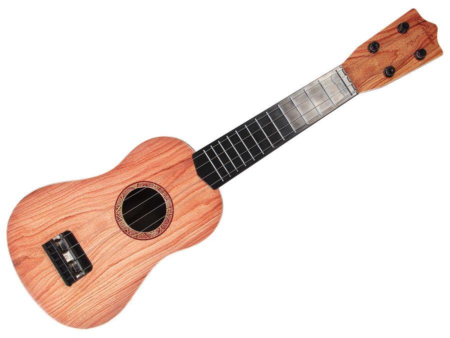 Gitarre Kinder Spielzeug 55 cm lang mit 4 echten Saiten - Braun 8539 von Alsino